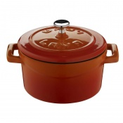 Folk Mini Casseruola Tonda Lt 0,35 In Ghisa Smaltata Arancio