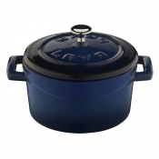 Folk Mini Casseruola Tonda Lt 0,35 In Ghisa Smaltata Blu