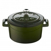Folk Mini Casseruola Tonda Lt 0,35 In Ghisa Smaltata Verde