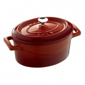 Maperno Mini Ovens Oval Saucepot Cast Iron Lt 0,42 Cm 12x9 Red