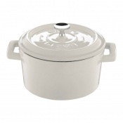 Trendy Mini Casseruola Tonda Lt 0,55 In Ghisa Smaltata Bianco